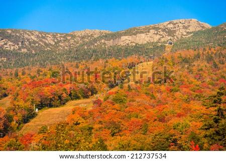 Ski trails at Stowe Mountain Resort during autumn, Stowe Vermont, USA - stock photo