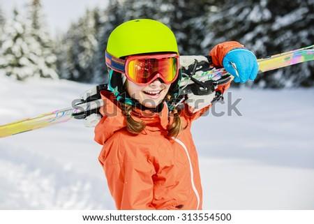 Ski, winter vacation, snow, skier, sun and fun. - stock photo