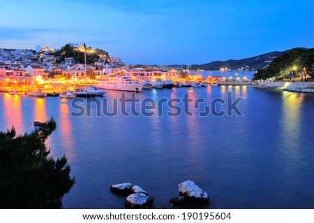 Skiathos town at night,  Skiathos island, Sporades archipelago, Greece - stock photo