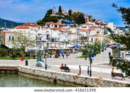 Skiathos village view and main square of the city, Greek island - stock photo
