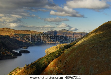 Skiddaw and Thirlmere from Helvellyn in the English Lake District - stock photo
