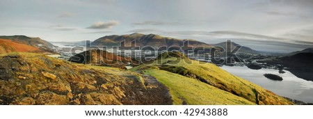 Skiddaw from Cat Bells on a frosty winter morning in the English Lake District - stock photo