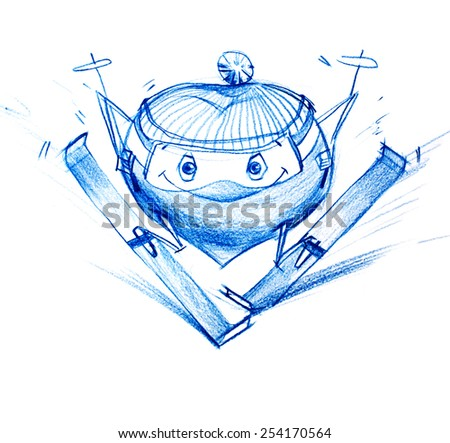 Skier Climbs Down a Mountain. Set. Character Heart in Various Life Situations. Graphic illustration in Pencil Drawing - stock photo