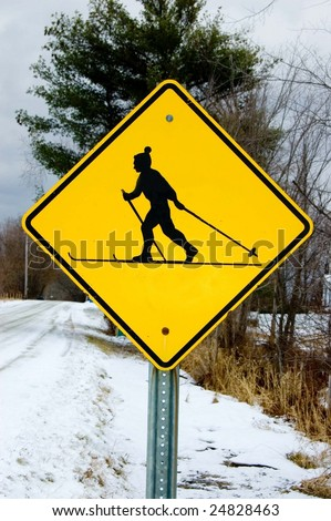 Skier crossing - stock photo