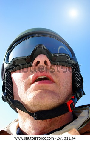 skier gives an intense look - stock photo
