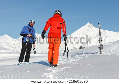 Skier has fun in high winter mountains of Georgia - stock photo