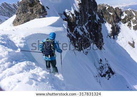 Skier in deep powder, extreme winter freeride - stock photo