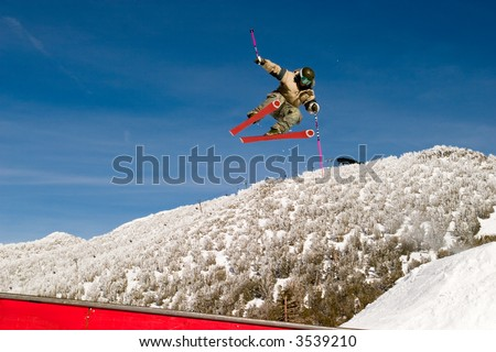 Skier in the air - stock photo