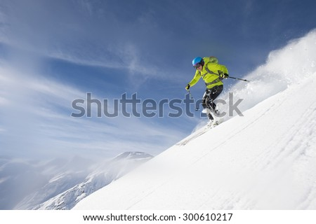 skier in the upturn