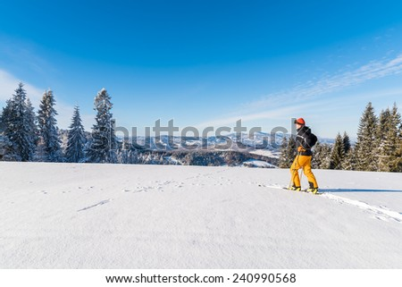 Skier in winter landscape of Beskid Sadecki Mountains on sunny day, Poland
