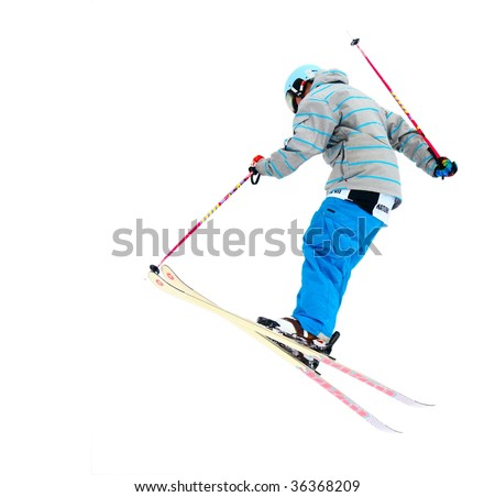 Skier isolated on a white background - stock photo