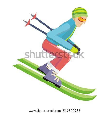 Skier isolated on white. Person skiing flat style design. Skis isolated. Winter season recreation winter sport activity. Slalom sport ski race. Athlete on the downhill. Extreme speed skiing.