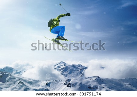 Skier jumps - stock photo