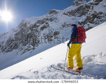 Skier looking out over slope with powder snow