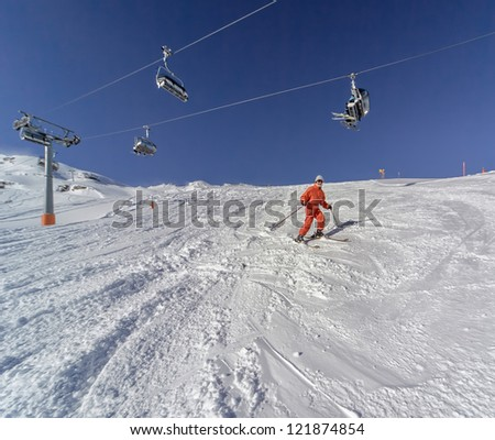Skier on the Kaprun alpine skiing resort, Austria - stock photo