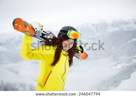 Skier, skiing, winter sport - portrait of  female skier - stock photo
