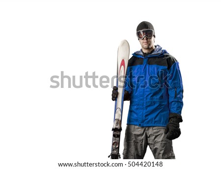 Skier with a blue jacket, holding a pair of skis on a white background.