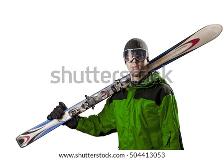 Skier with a green jacket, holding a pair of skis on a white background.