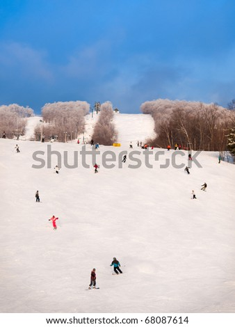 Skiers general view at Mount-Tremblant mail hills - stock photo