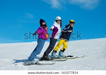 Skiers having fun