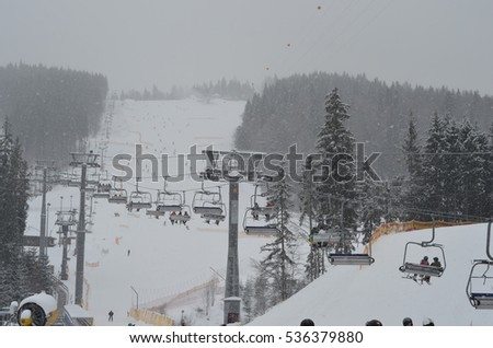 Skiers on a mountain slope. Winter sport