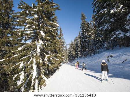 Skiers on a ski slope piste slope going through the trees in alpine resort - stock photo