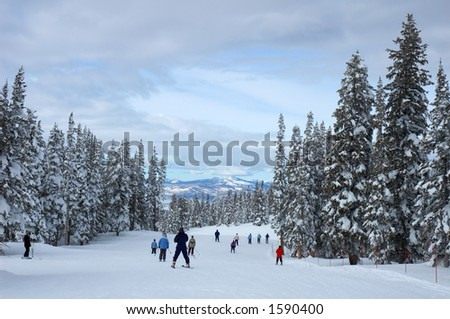 Skiers on a slope in Steamboat Springs, Colorado, Usa - stock photo