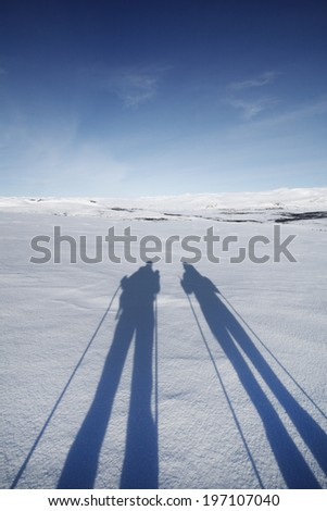Skiers shadows on snow, Lapland, Sweden - stock photo