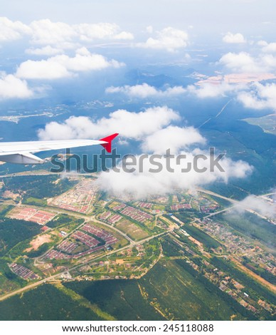 Skies above and below Cloudscape Around  - stock photo