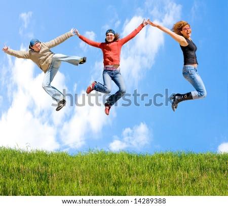 "skies above - grass below -  of  ""Groups of people"" series in my portfolio - stock photo"