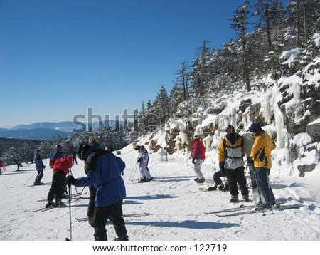 Skiiers in Killington, Vermont. - stock photo