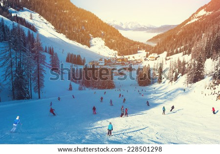 Skiing area in West Alps in the morning light. Beautiful winter landscape - nature and sport toning picture  - stock photo