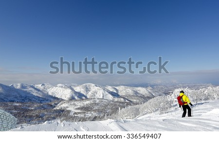 Skiing down the slope