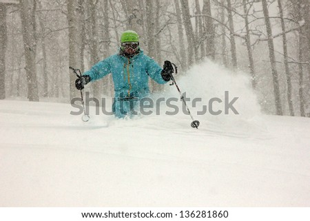 Skiing during a snow storm with aspen trees, Utah, USA. - stock photo