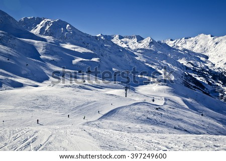 skiing in alps - stock photo