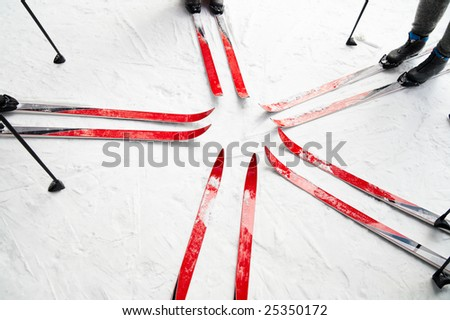skiing in the forest, group of people
