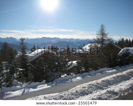 skiing in the mountains - stock photo