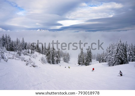 Skiing into A Cloud on Mount Bachelor