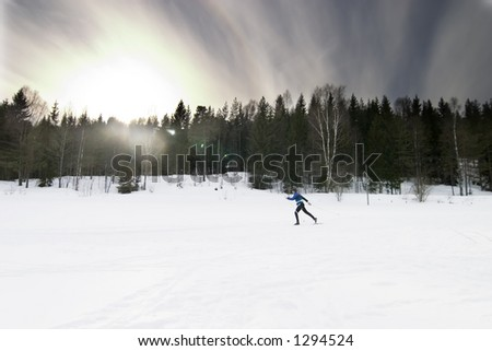 Skiing on a bright sunny day.  A winter landscape looking into the sun with lens flare. - stock photo