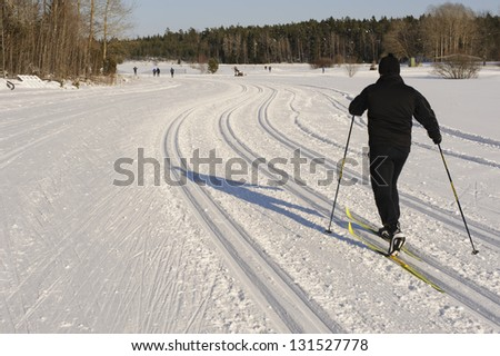 Skiing on nice ski tracks - stock photo