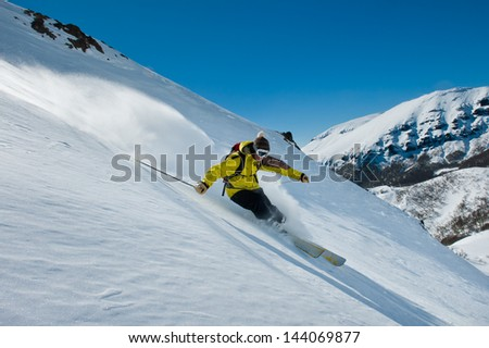 Skiing on virgin snow in the Andes.