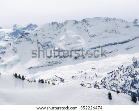 Skiing place on Swiss Alps - stock photo