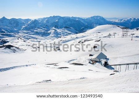 Skiing resort in Les 2 Alpes, France, in beautiful sunny weather