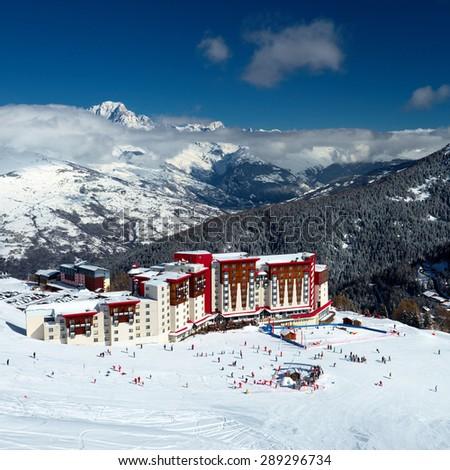 Skiing, winter season , mountains - stock photo
