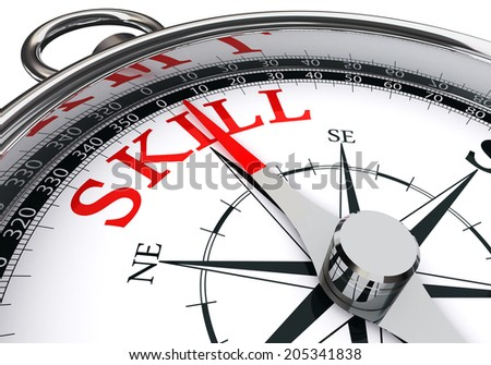 skill red word on concept compass isolated on white background - stock photo