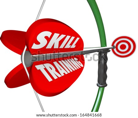 Skill Training Bow Arrow Practice Expertise Lesson - stock photo