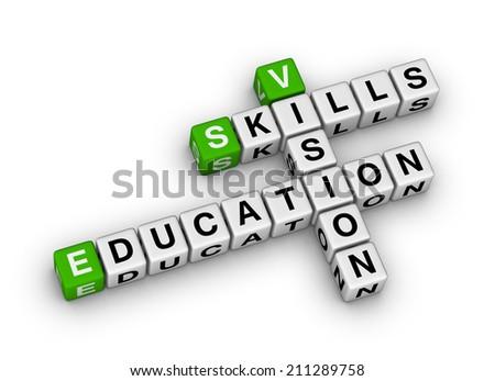 skill vision education (green-white crossword series) - stock photo