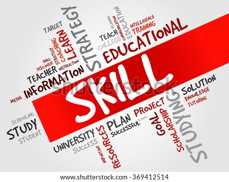 SKILL word cloud, education concept - stock photo