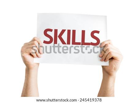 Skills card isolated on white background - stock photo