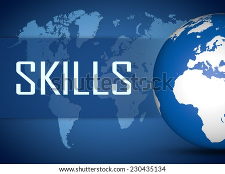 Skills concept with globe on blue background - stock photo